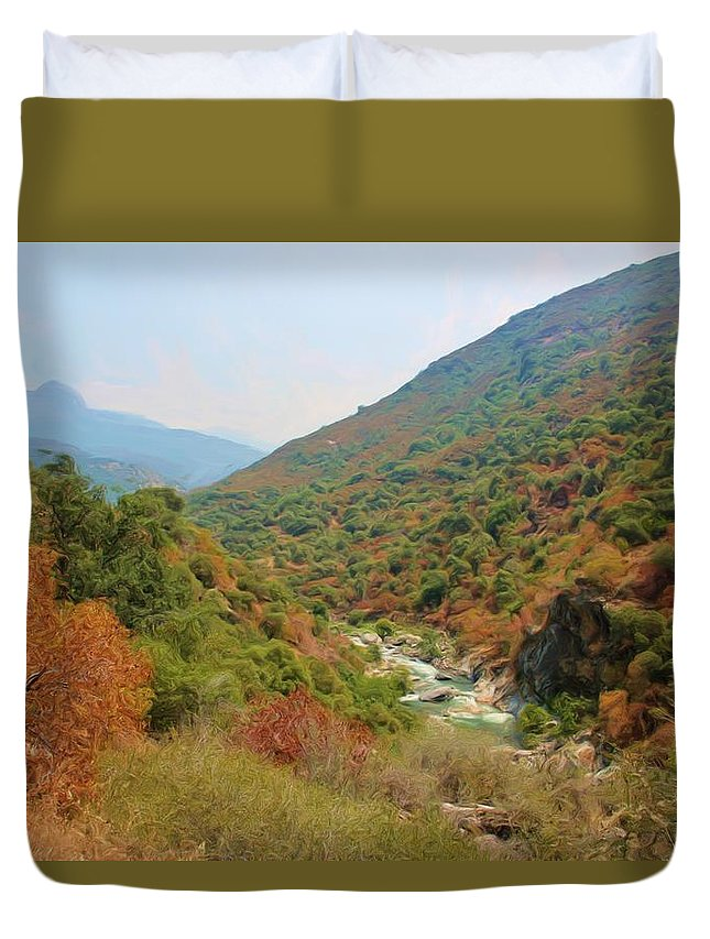 Sequoia National Park Duvet Cover featuring the photograph Canyon Stream by Heidi Smith