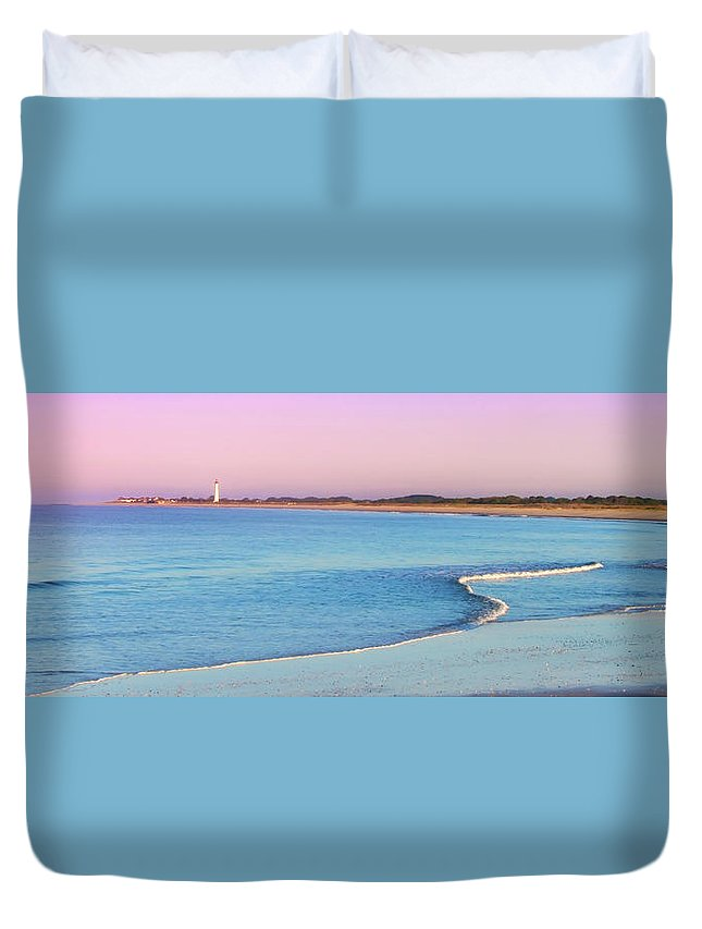 Cape May Duvet Cover featuring the photograph Cape May Light House Panorama by Bill Cannon