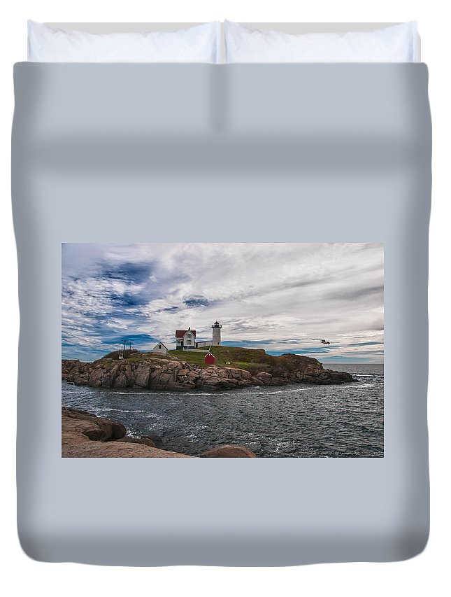 Atlantic Ocean Duvet Cover featuring the photograph Cape Neddick Light Station by Guy Whiteley