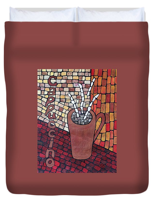 Original Duvet Cover featuring the painting Cappuccino by Cynthia Amaral