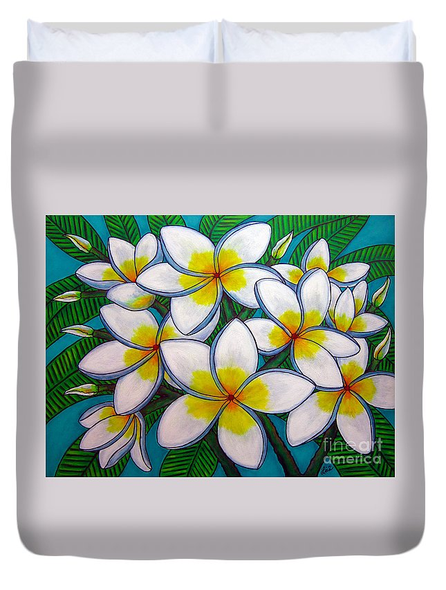 Frangipani Duvet Cover featuring the painting Caribbean Gems by Lisa Lorenz