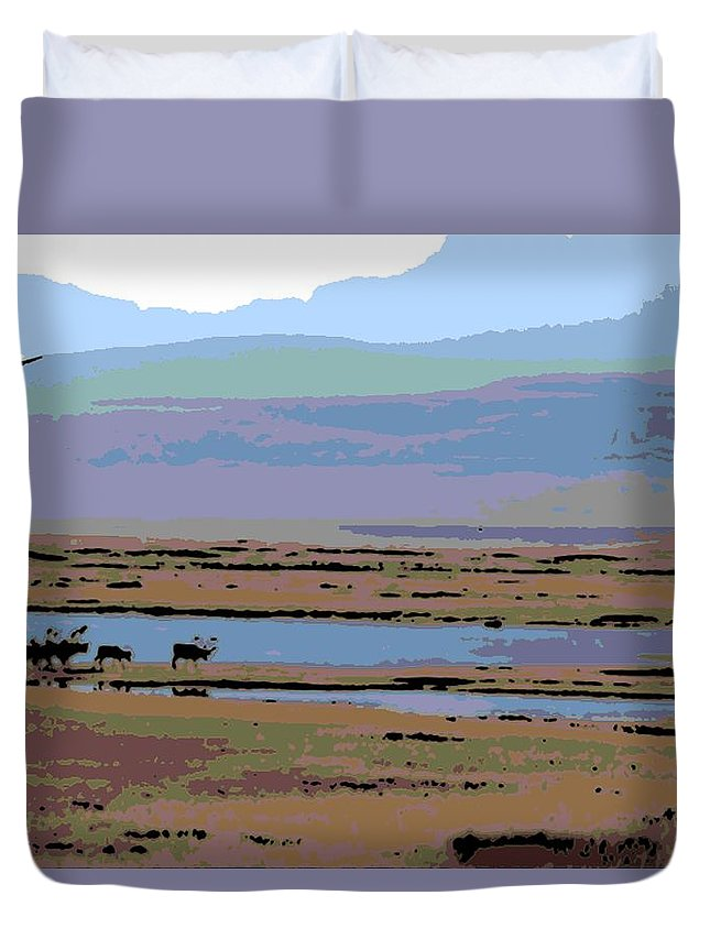 Caribou Duvet Cover featuring the photograph Caribou On The Move by George Pedro