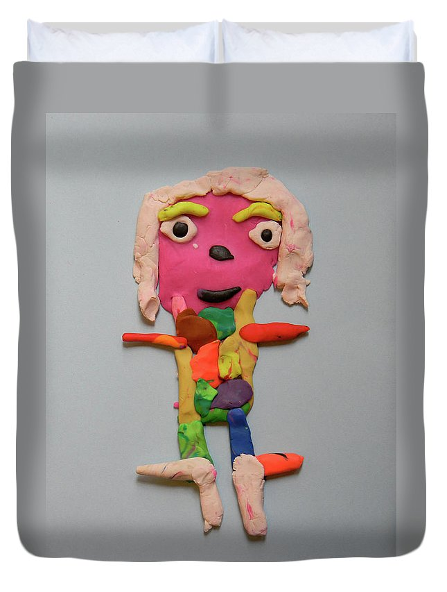 Playdough Duvet Cover featuring the sculpture Caroline by Marwan George Khoury