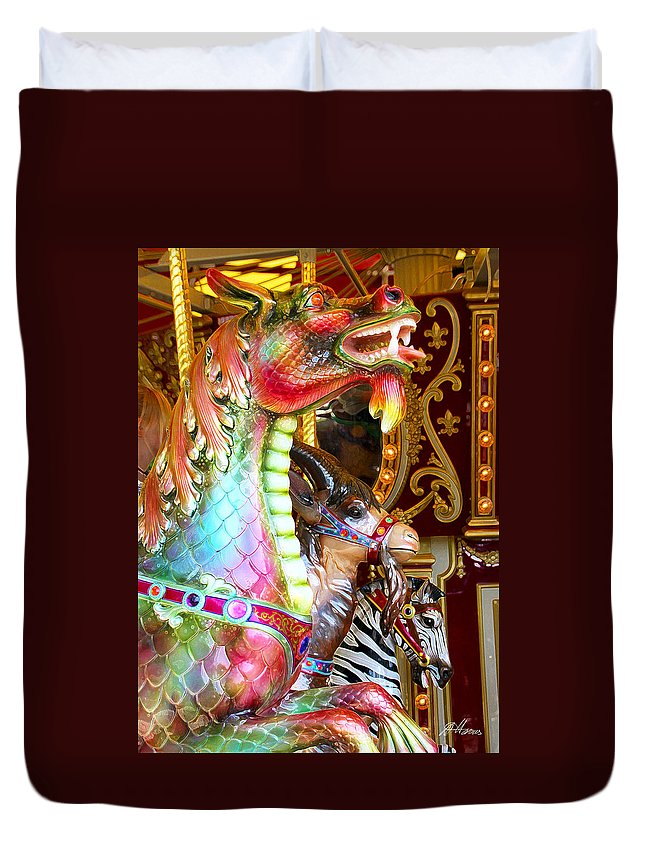 Carousel Duvet Cover featuring the photograph Carousel Dragon by Diana Haronis