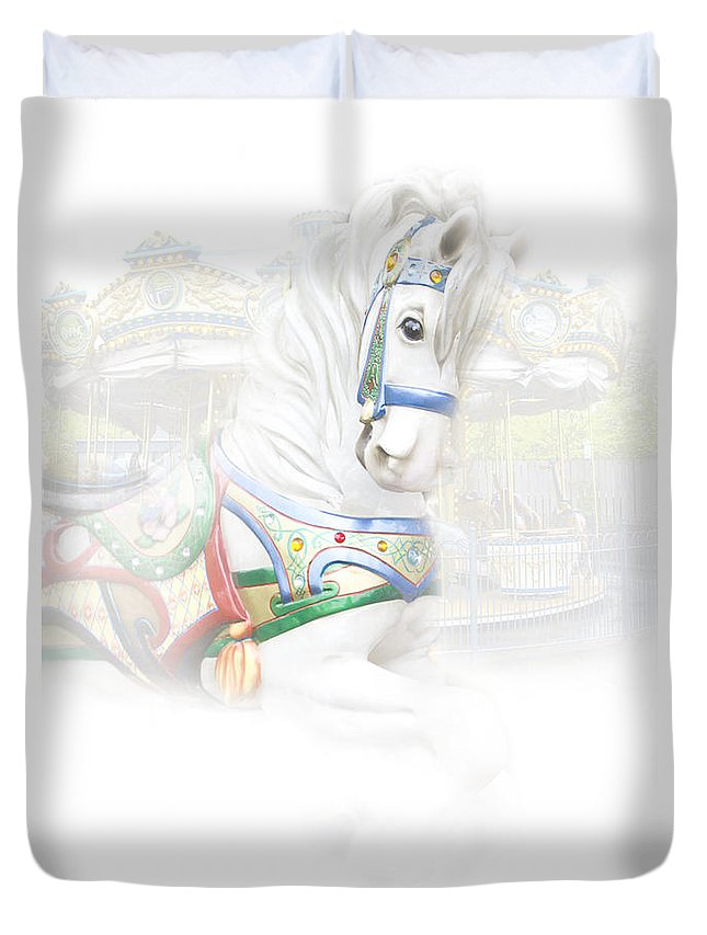 Art Duvet Cover featuring the photograph Carousel White Horse In A Child's World by Randall Nyhof