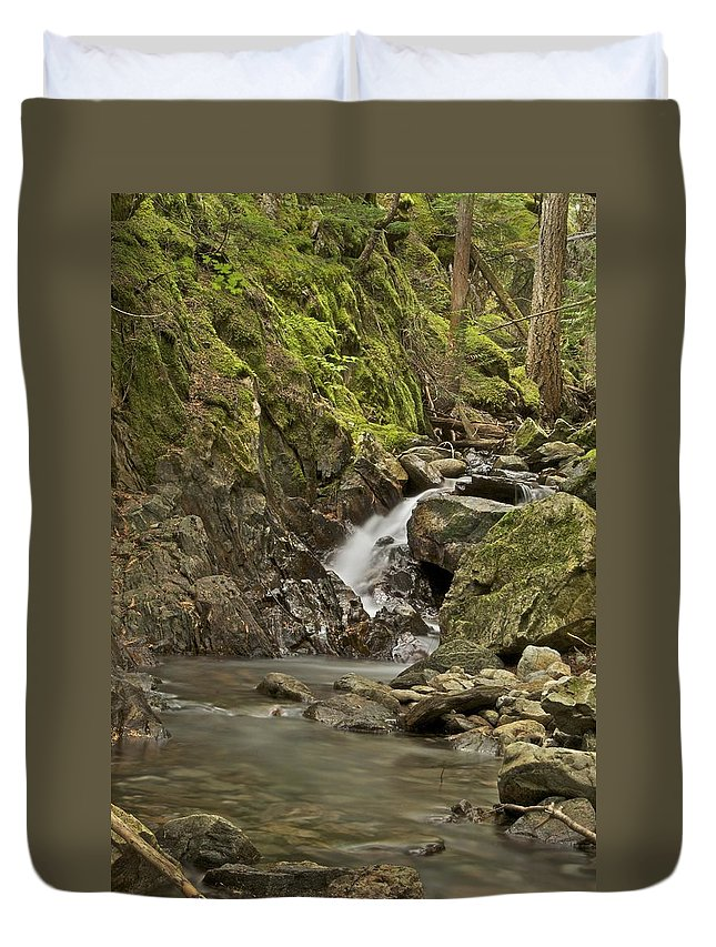 Cascades Duvet Cover featuring the photograph Cascades Happy Trail 9128 by Michael Peychich