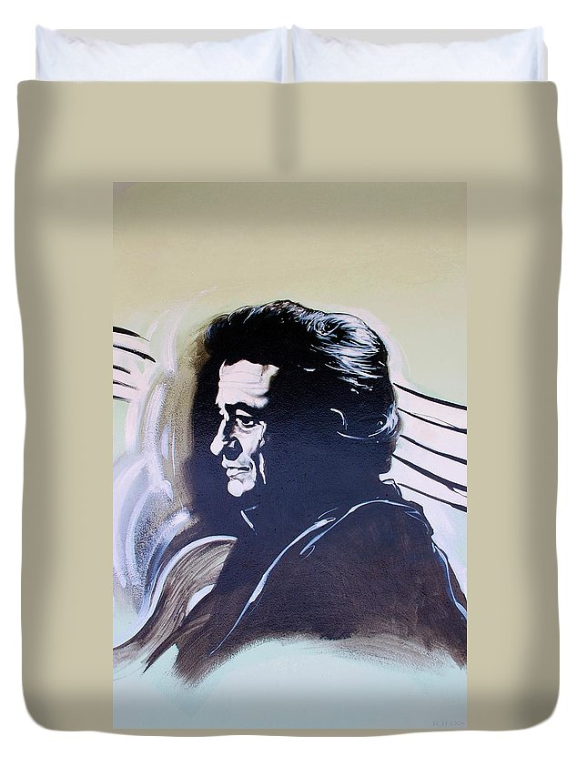 Johnny Cash Duvet Cover featuring the photograph Cash by Rob Hans