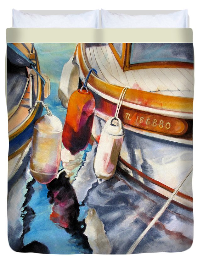 Seascape Duvet Cover featuring the painting Cassis Castaways by Rae Andrews