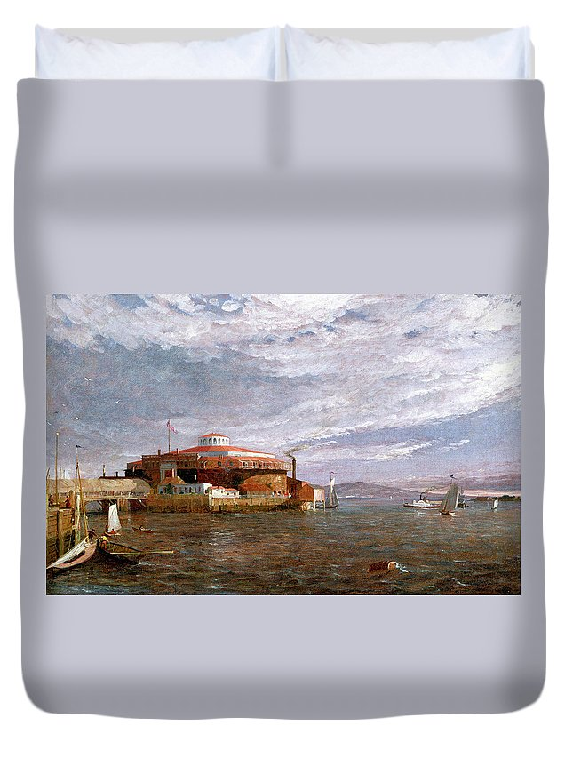 View Duvet Cover featuring the painting Castle Garden Day by Jasper Francis Cropsey