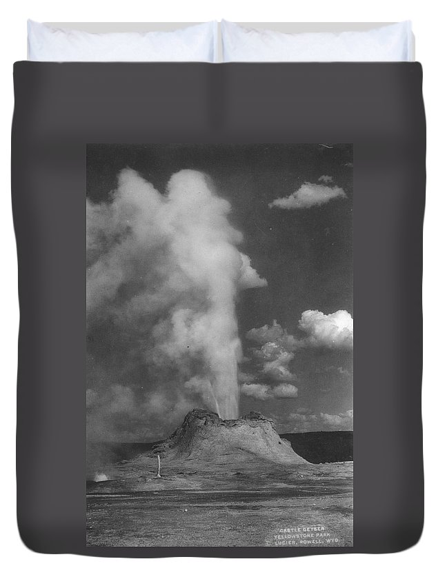 Yellowstone Duvet Cover featuring the photograph Castle Geyser Yellowstone by Bonfire Photography