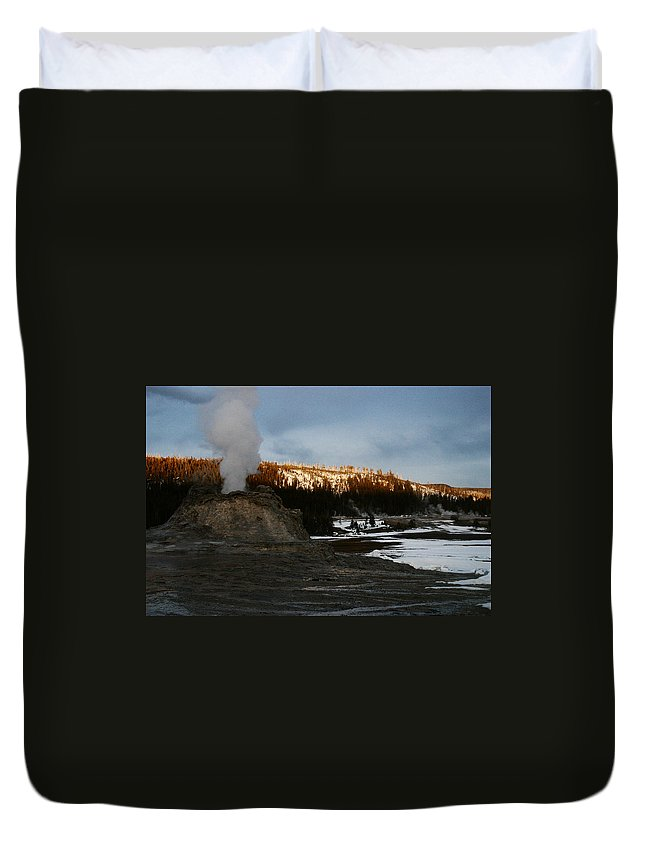 Geysers Duvet Cover featuring the photograph Castle Geyser Yellowstone National Park by Benjamin Dahl