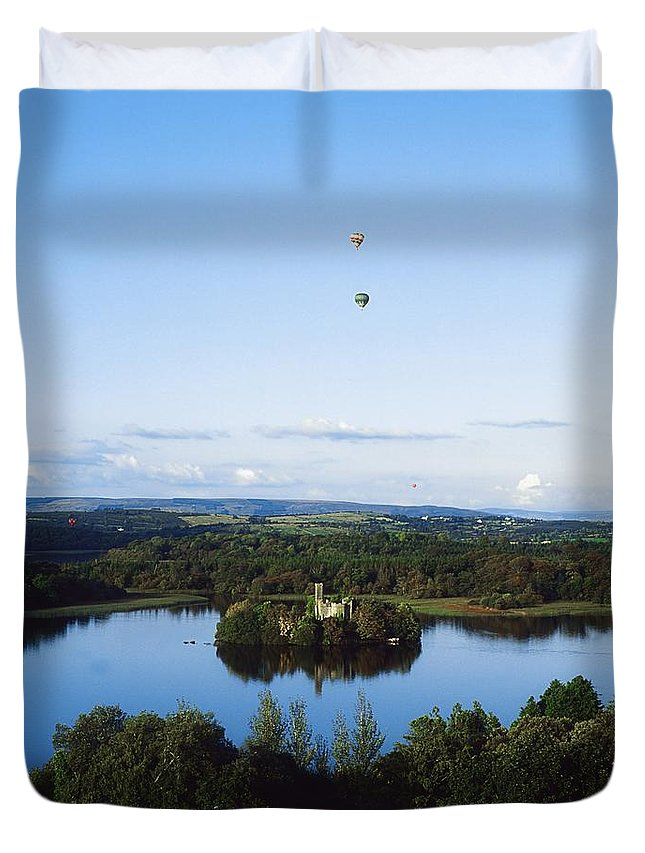 Blue Sky Duvet Cover featuring the photograph Castle Island, Lough Key Forest Park by The Irish Image Collection