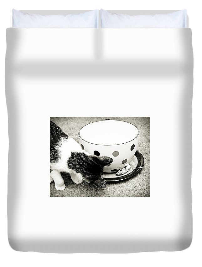 Fine Art Cat Duvet Cover featuring the photograph Cat And Mouse Coffee by Andee Design