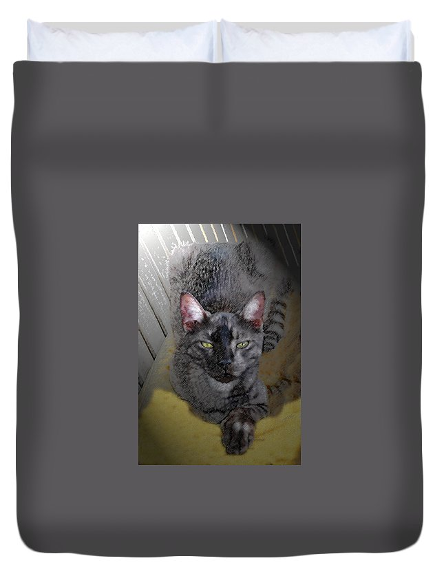 Cat Duvet Cover featuring the painting Cat Art Of Relaxing by David Lee Thompson