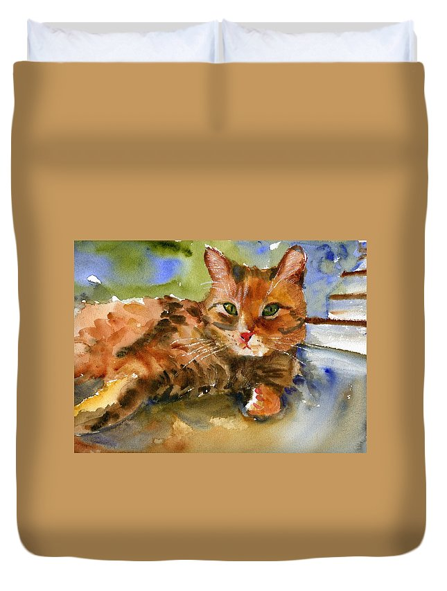 Art Duvet Cover featuring the painting Cat King by Miriam Schulman