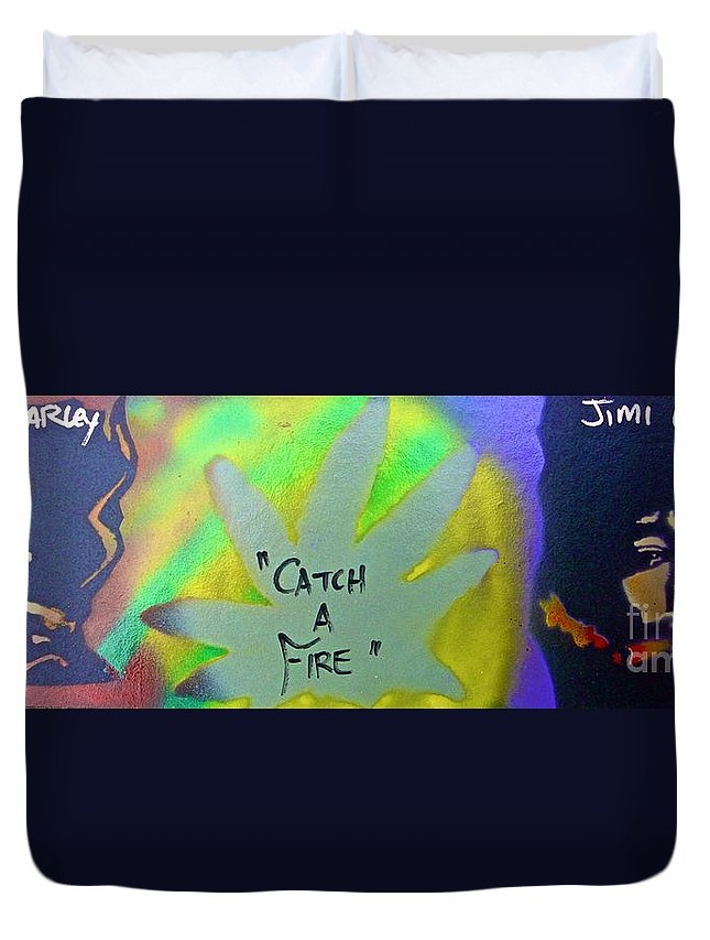Hip Hop Duvet Cover featuring the painting Catch A Fire by Tony B Conscious