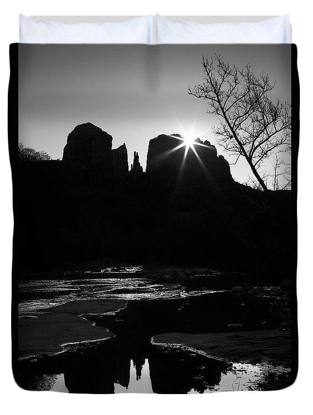 Arizona Duvet Cover featuring the photograph Cathedral Rock Sunrise Sedona Arizona by Matt Suess