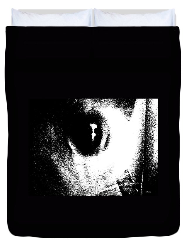 Cat Duvet Cover featuring the drawing Cat's Eye by George Pedro