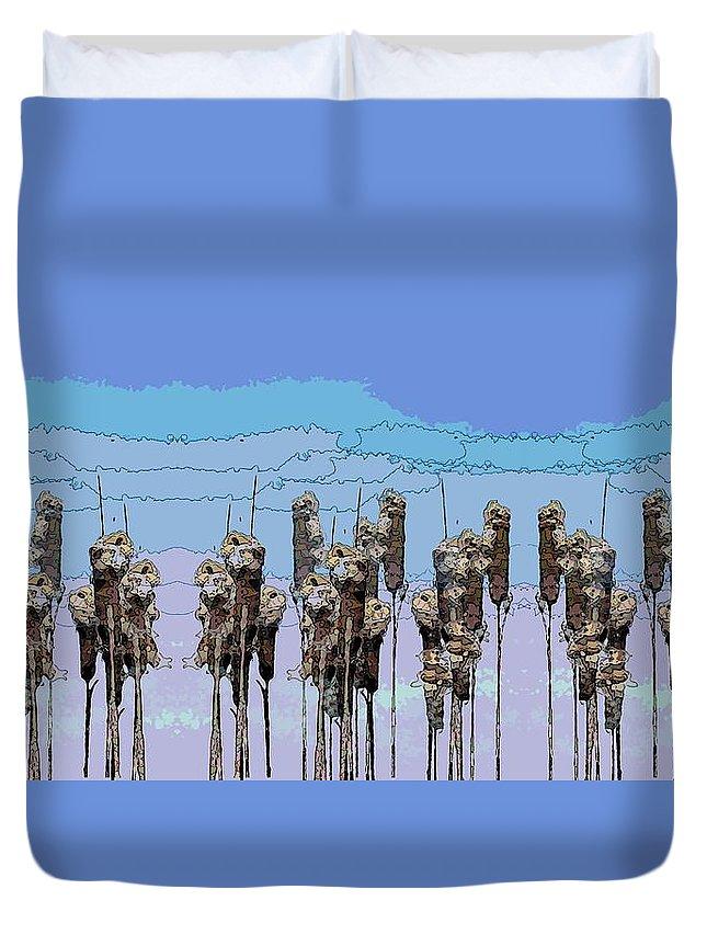 Cattails Duvet Cover featuring the digital art Cattail Blues by Tim Allen