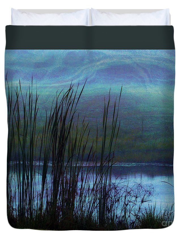 Cattails Duvet Cover featuring the photograph Cattails In Mist by Judi Bagwell
