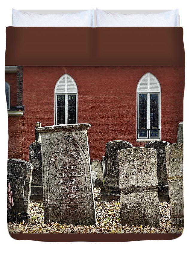 Chester Duvet Cover featuring the photograph Cemetery And Church by John Greim