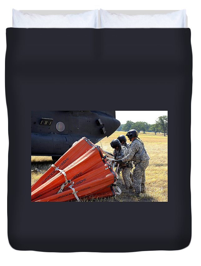Preparation Duvet Cover featuring the photograph Ch-47 Chinook Helicopter Crew Prepare by Stocktrek Images