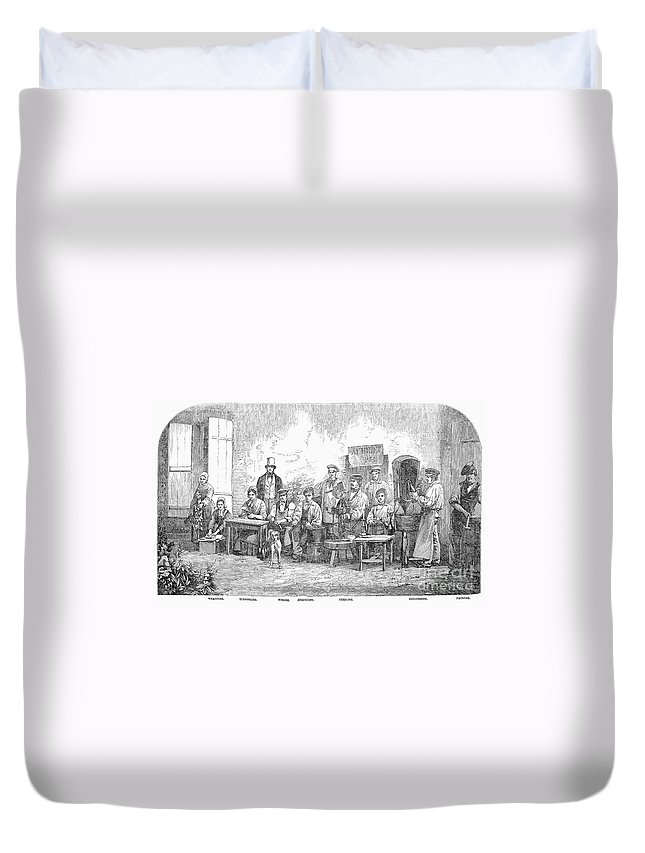 1855 Duvet Cover featuring the photograph Champagne Production, 1855 by Granger