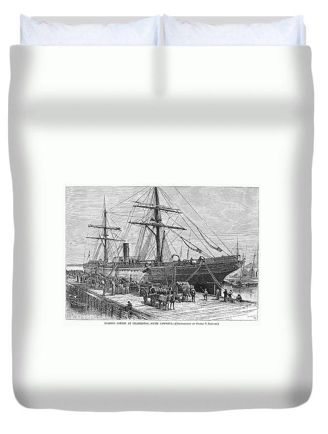 1878 Duvet Cover featuring the photograph Charleston: Cotton Ship by Granger