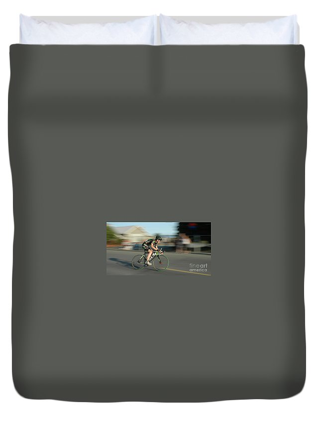 Bicycles Duvet Cover featuring the photograph Chasing The Pack by Vivian Christopher