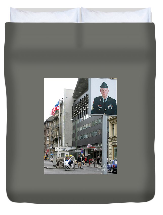 Check Point Charlie Duvet Cover featuring the photograph Check Point Charlie Berlin Germany by Eva Kaufman
