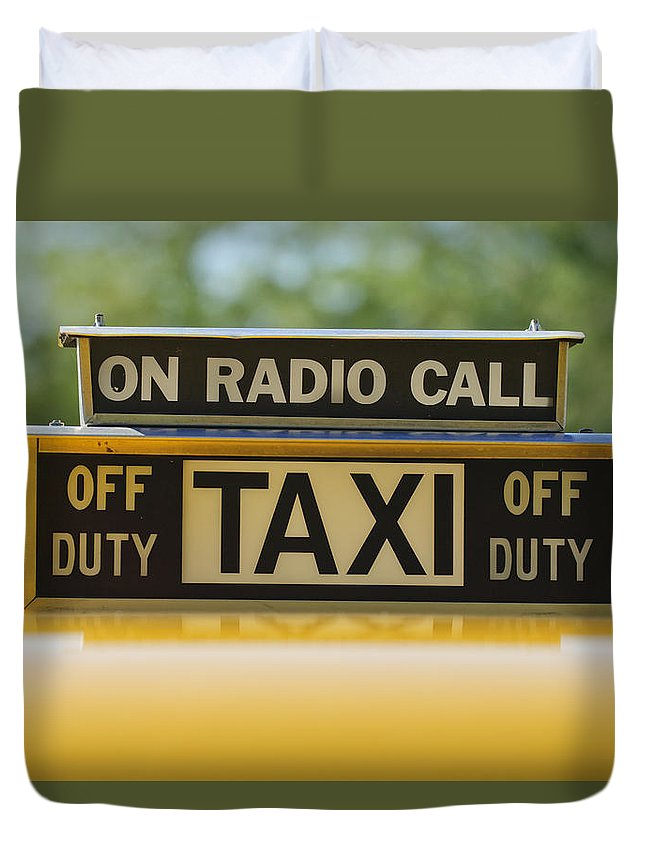 Checker Taxi Cab Duvet Cover featuring the photograph Checker Taxi Cab Duty Sign by Jill Reger