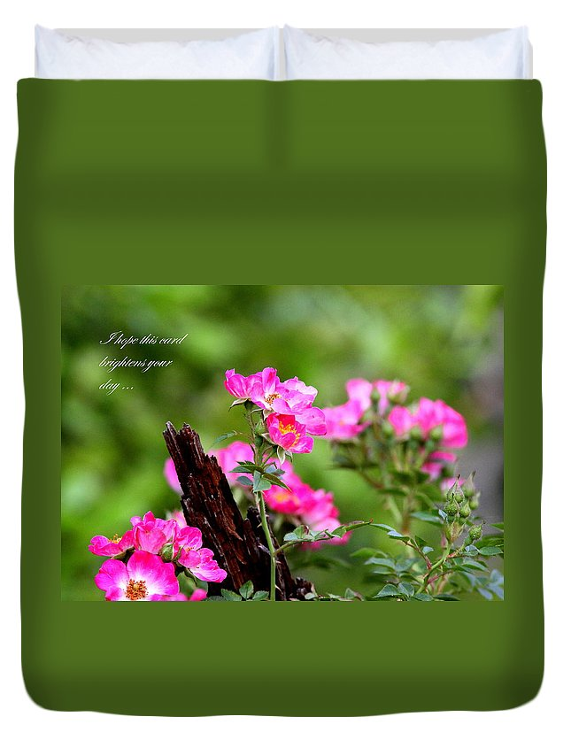 Flower Duvet Cover featuring the photograph Cherokee Rose Card - Flower by Travis Truelove