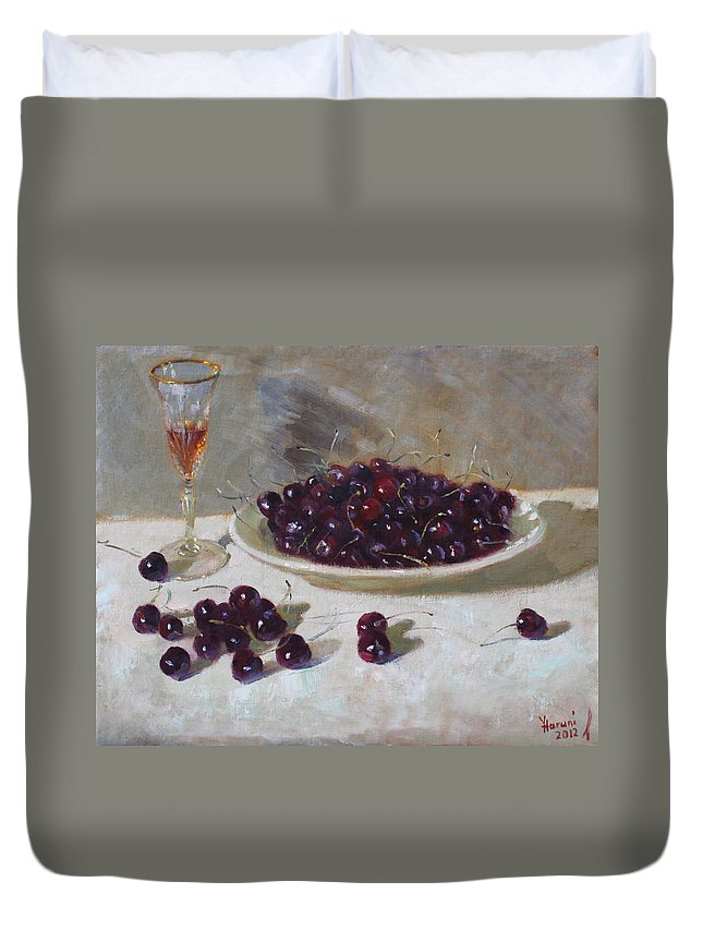 Cherries Duvet Cover featuring the painting Cherries by Ylli Haruni