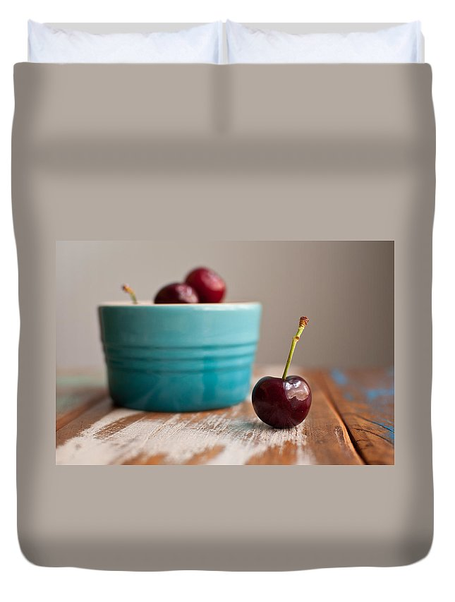 Cherry Duvet Cover featuring the photograph Cherry by Tammy Lee Bradley