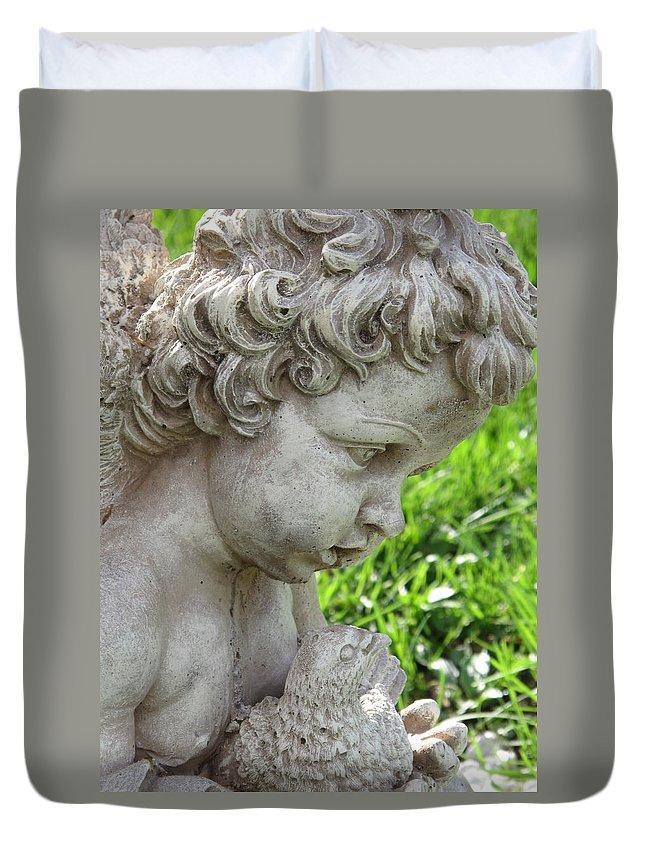 Cherub Duvet Cover featuring the photograph Cherub Of Eternal Sleep by Michele Nelson