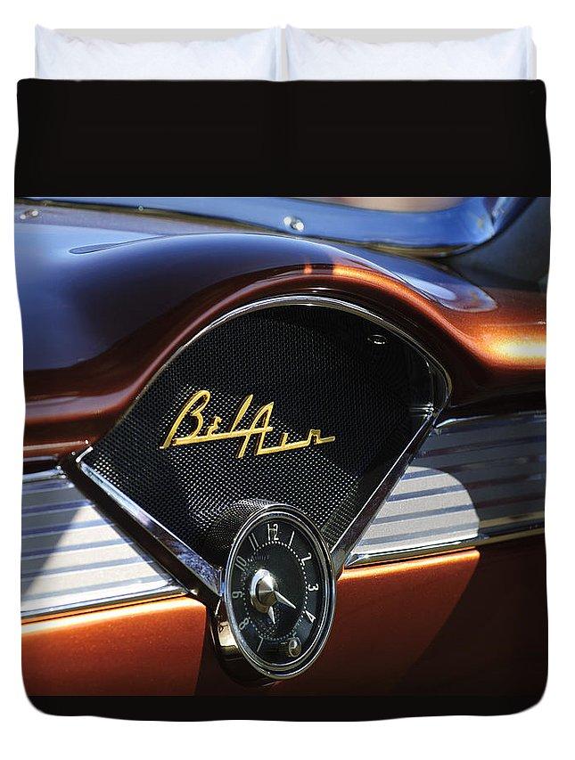Chevrolet Belair Duvet Cover featuring the photograph Chevrolet Belair Dashboard Clock And Emblem by Jill Reger