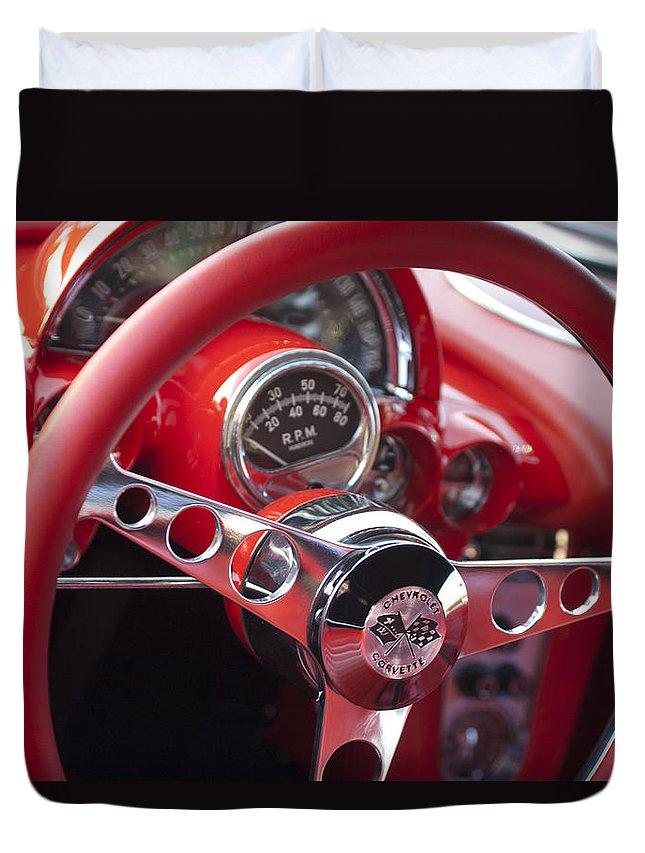 Chevrolet Corvette Duvet Cover featuring the photograph Chevrolet Corvette Steering Wheel by Jill Reger