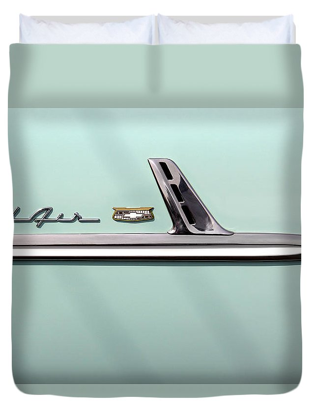 Transportation Duvet Cover featuring the photograph Chevy Belair Trim - 4 Door by Mike McGlothlen