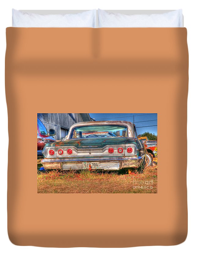 Chevy Duvet Cover featuring the photograph Chevy Blue by Brenda Giasson