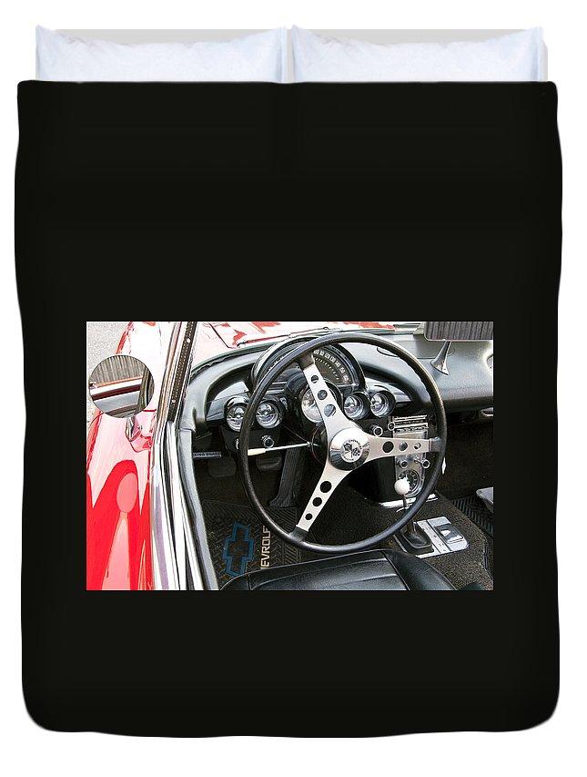 Chevy Duvet Cover featuring the photograph Chevy Corvette by Glenn Gordon