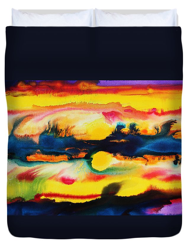 Sunset Duvet Cover featuring the painting Cheyenne Sunset by Mark SWAIN