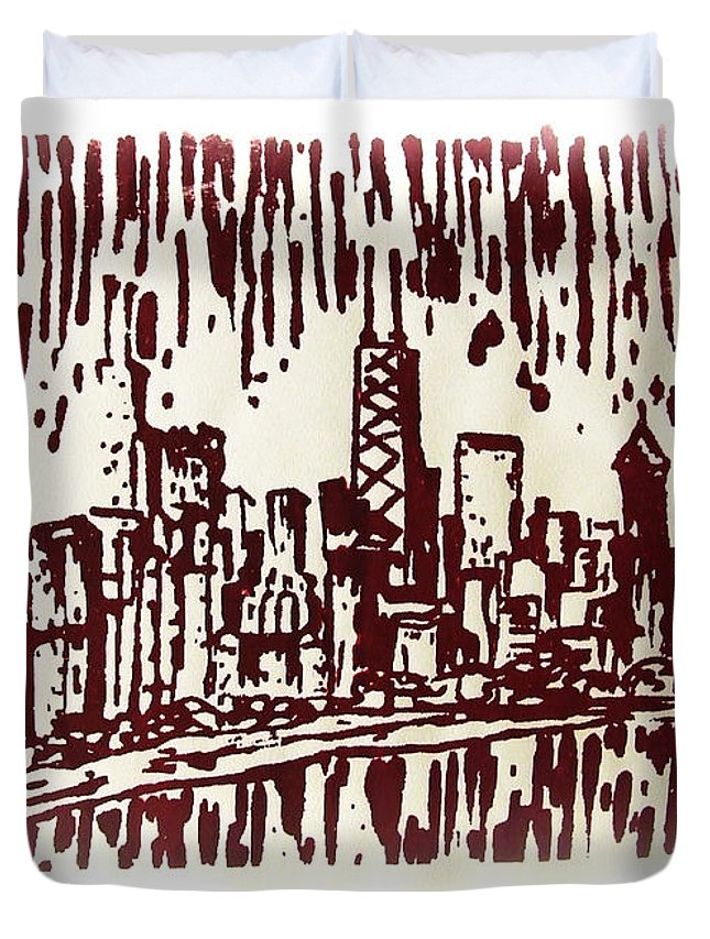 Chicago Duvet Cover featuring the painting Chicago Great Fire Of 1871 Serigraph Of Skyline Buildings Sears Tower Lake Michigan John Hancock by M Zimmerman