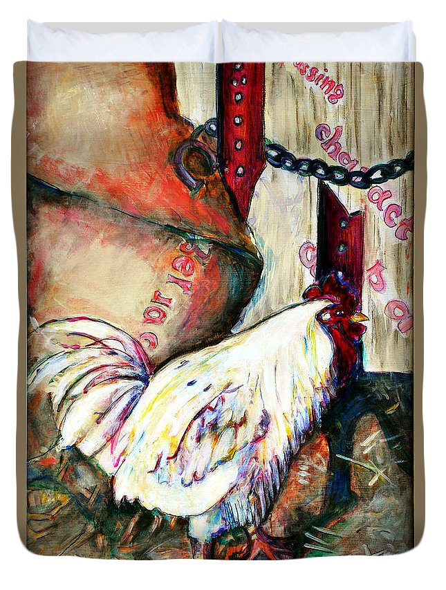 Chicken Duvet Cover featuring the painting Chicken In The Barn by Joi Sampsell