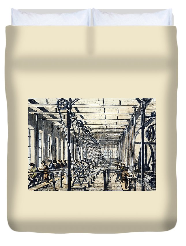1845 Duvet Cover featuring the photograph Child Labor, 1845 by Granger