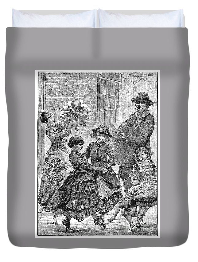 1886 Duvet Cover featuring the photograph Children Dancing by Granger