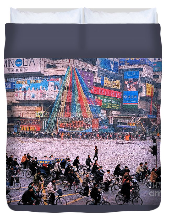Duvet Cover featuring the photograph China Chengdu Morning by First Star Art