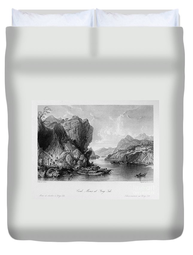1843 Duvet Cover featuring the photograph China: Coal Mining, 1843 by Granger