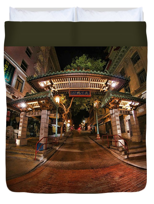 China Town Duvet Cover featuring the photograph Chinatown Entrance by Blake Richards