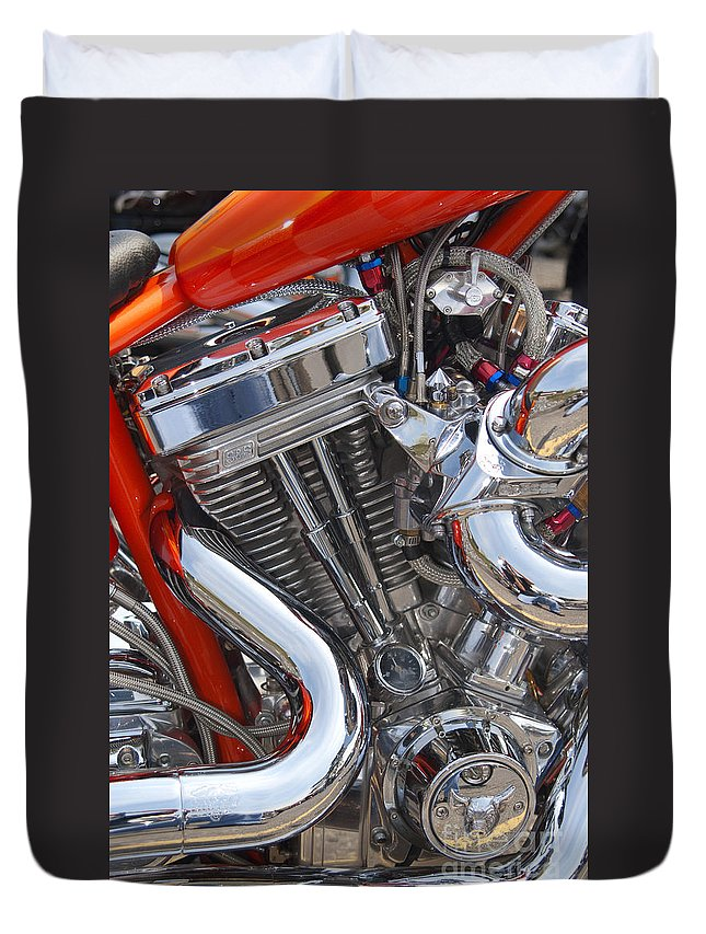 Chopper Duvet Cover featuring the photograph Chopper Engine by Paul W Faust - Impressions of Light