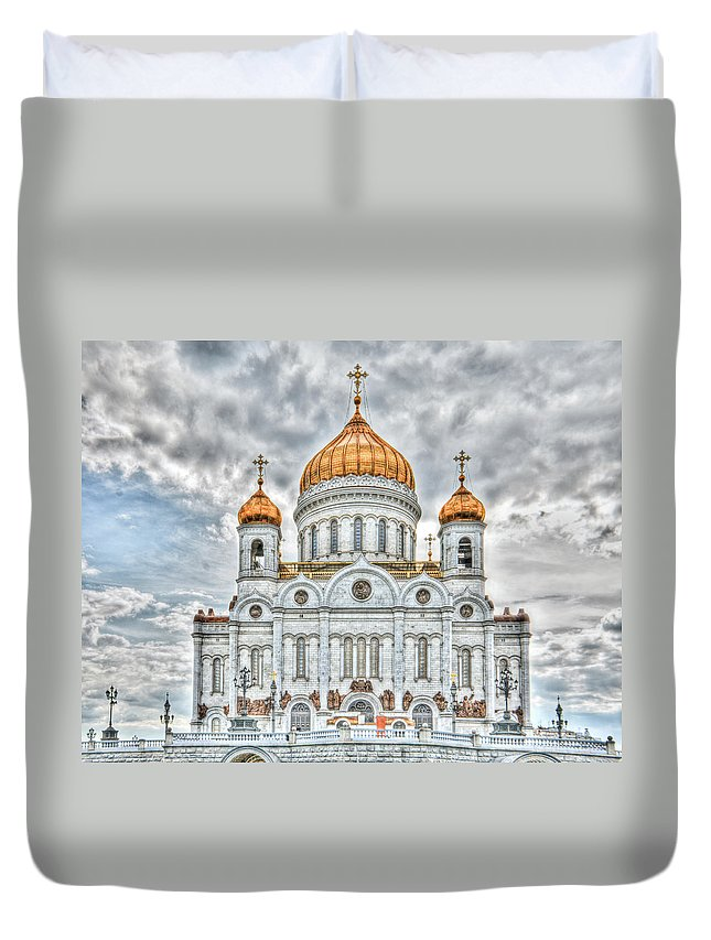 Hdr Duvet Cover featuring the photograph Christ The Saviour Cathedral In Moscow. The Main Entrance by Michael Goyberg